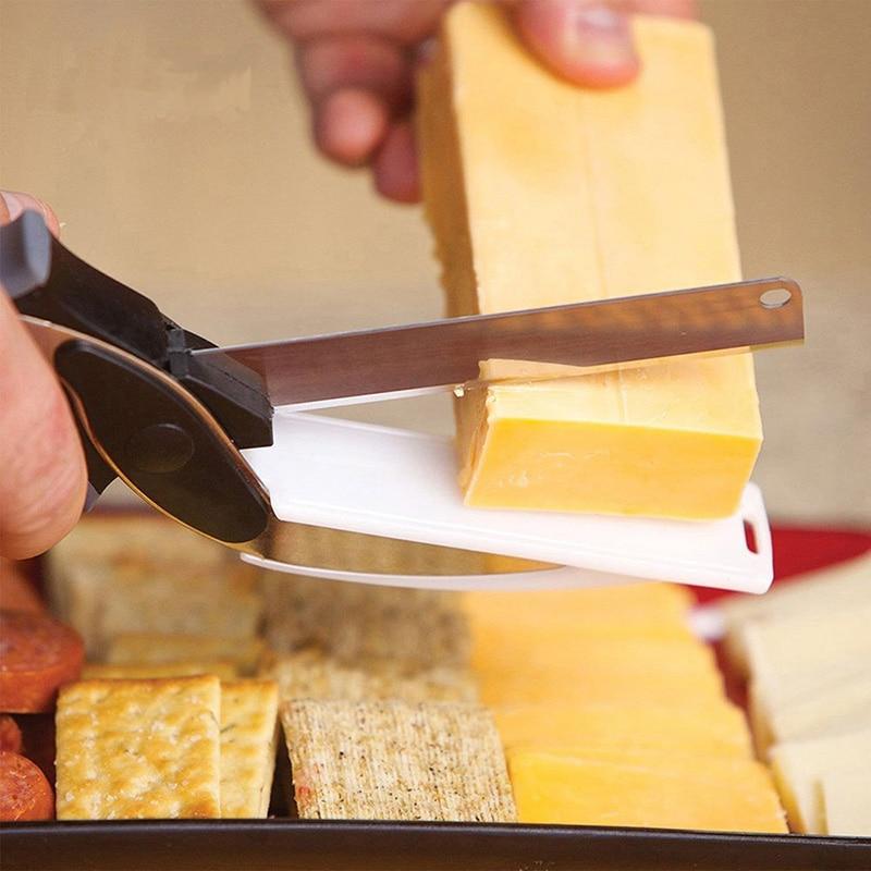 Kitchen Food Scissor Multi-Function Smart Cutter 2 in 1 Cutting Board Utility Cutter Stainless Steel Smart Vegetable Knife