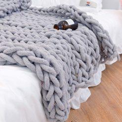 Chenille Knitted Blanket